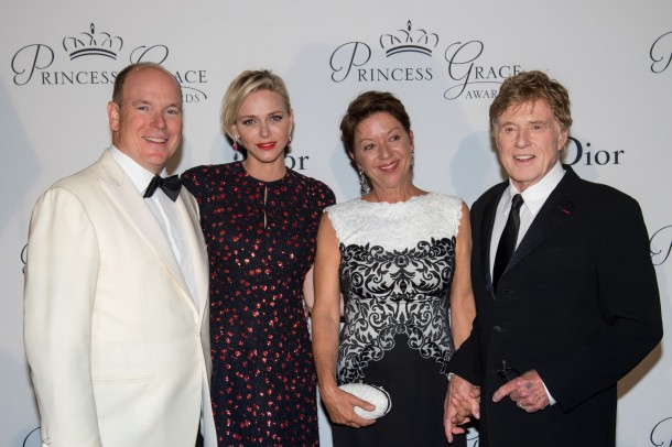 T.T.S.H. Prince Albert II and Princess Charlene of Monaco and Prince Rainier III Honorees Robert Redford and Sibylle Szaggars Redford at the 2015 Gala