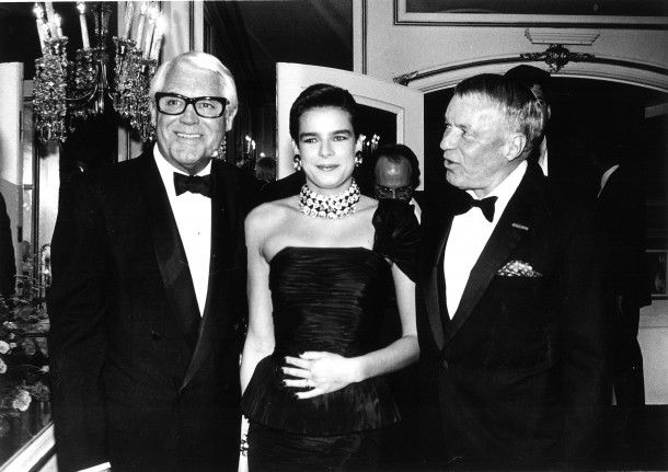 To Catch a Thief star Cary Grant poses for a photo with HSH Princess Stephanie and High Society star Frank Sinatra at Princess Grace Foundation Gala