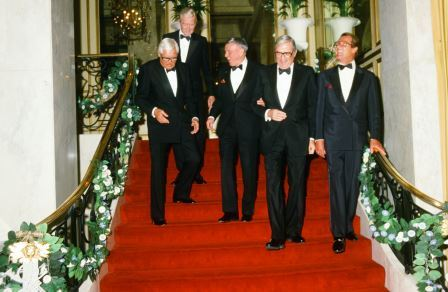 Old Hollywood's A list Jimmy Stewart, Cary Grant, Frank Sinatra, Gregory Peck and Roger Moore, in 1985, were the veteran supporters of The Princess Grace Foundation