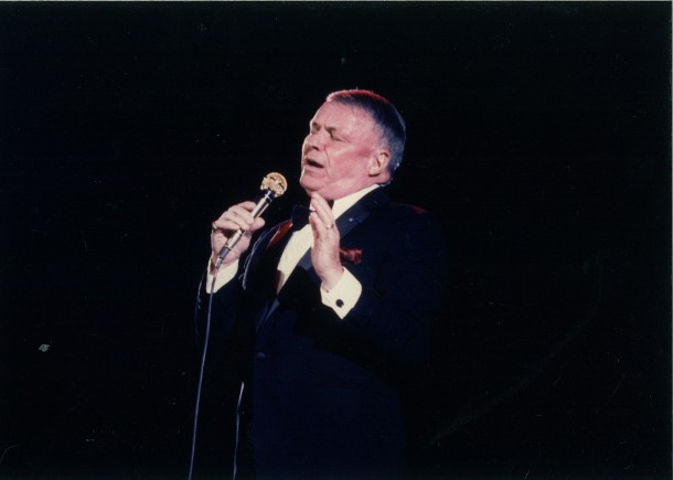Ol' Blue Eyes, crooner Frank Sinatra takes to the stage at the 1986 Princess Grace Awards gala celebrating a new crop of emerging artists.