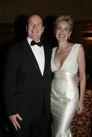 In 2004, H.S.H. Prince Albert II of Monacoand actress and actress Sharon Stone take a moment to pose for a photo.