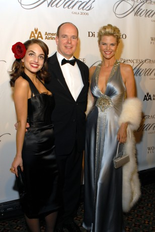 Singer-songwriter Alexa Ray Joel takes a break with H.S.H. Prince Albert II of Monaco and mother, Christie Brinkley at the 2006 Awards Gala..