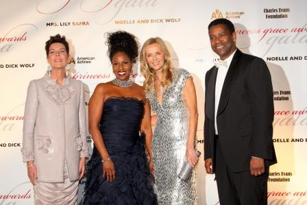 H.R.H. Princess Caroline of Hanover with 2010 Awards Gala Chair Bonnie Pfeifer Evans and Prince Rainier III Honorees Denzel and Pauletta Washington.