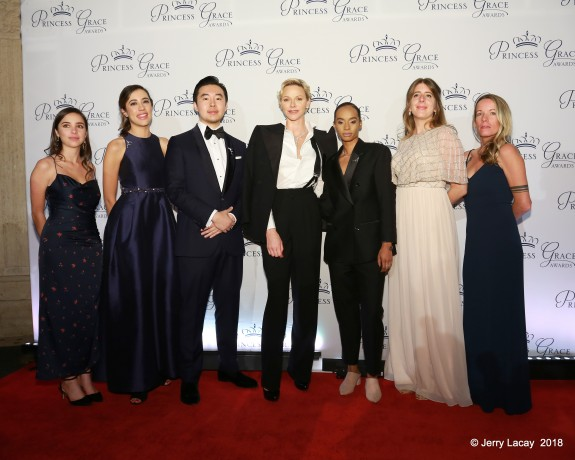 Her Serene Highness Princess Charlene of Monaco and the 2018 Princess Grace Award winners in Film attend the 2018 Princess Grace Awards Gala at Cipriani 25 Broadway in New York City.