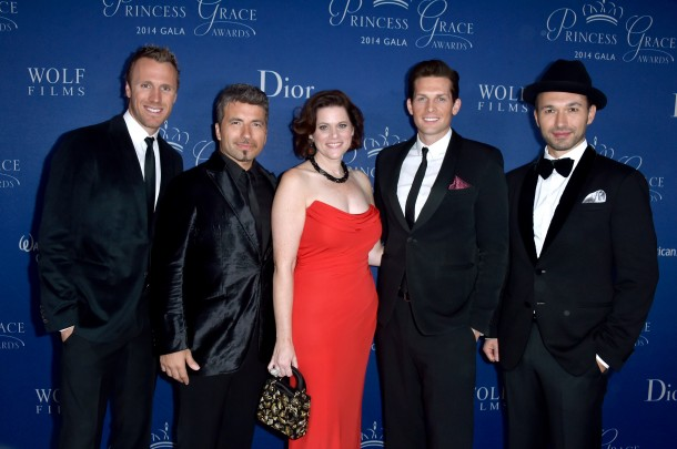Executive Director Toby Boshak with the evening's entertainment, The Tenors