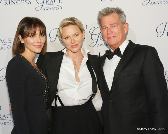 Katharine McPhee and David Foster with H.S.H. Princess Charlene of Monaco